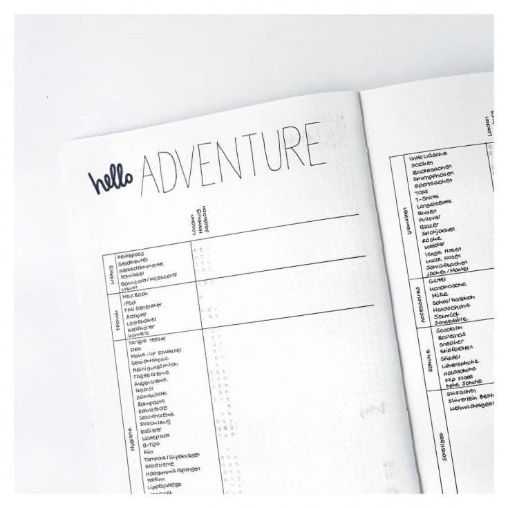 Travel Journal Packing List