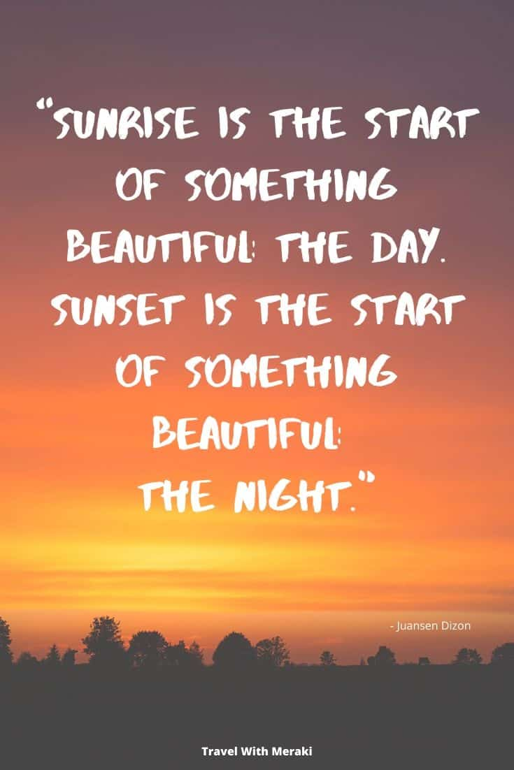 Quote about beautiful sunset