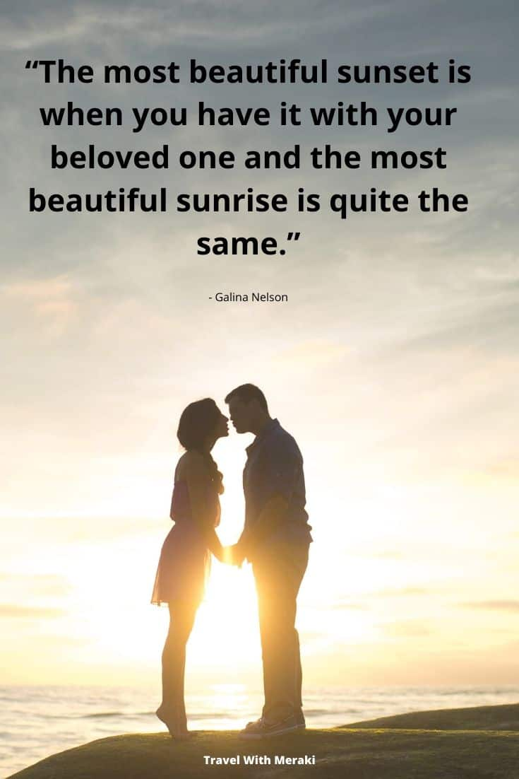 Quote about couple at sunset