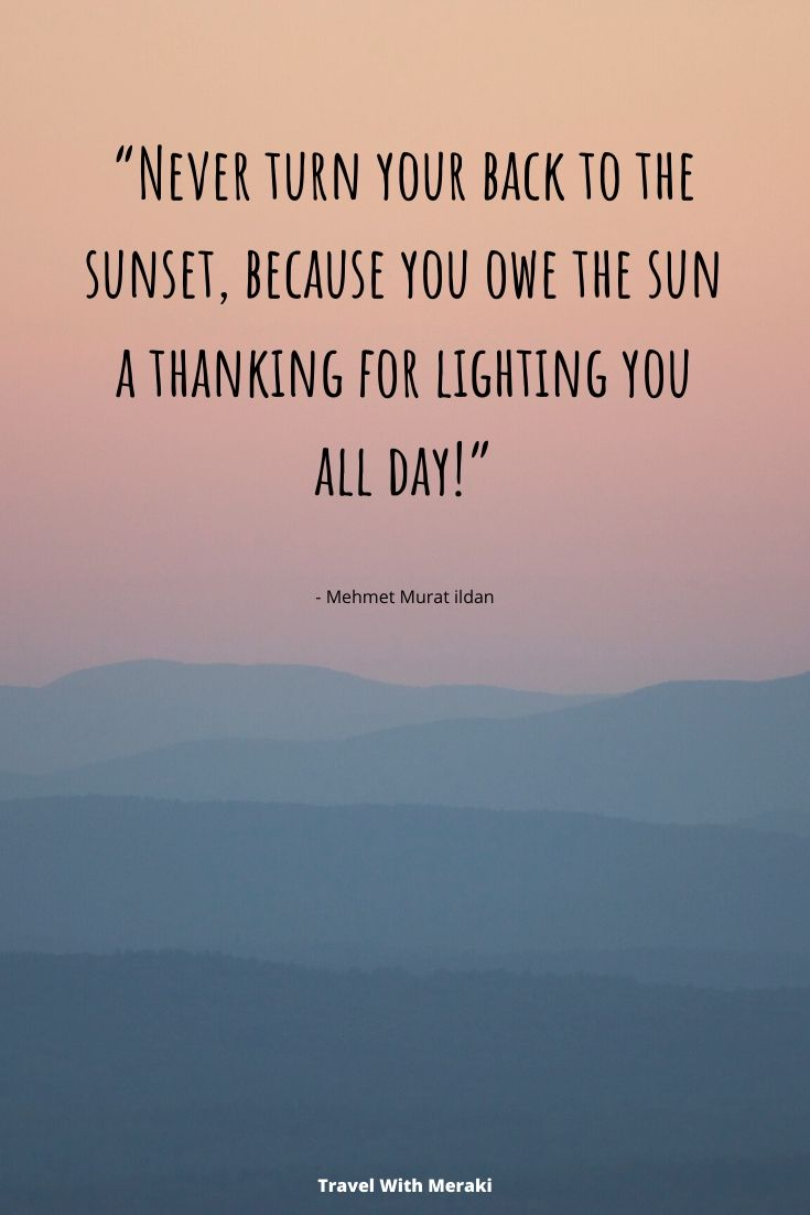 Quote about being thankful for sunset